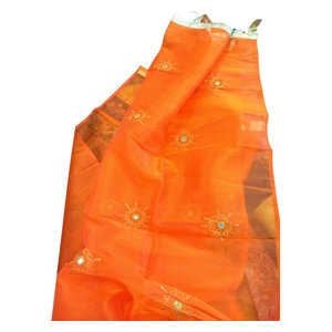 Mogul Interior - Sheer Organza Curtains Mirror Embroidered Window Panels, Orange, Set of 2 - Curtains
