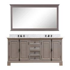 "60"" Gray Double Sink Bathroom Vanity, Mirror Included"