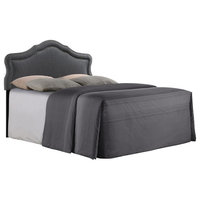 Pemberly Row Jayus Charcoal Full Upholstered Headboard With Nailhead Trim