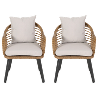 Madison Outdoor Wicker Club Chairs With Cushions, Set of 2, Light Brown/Black