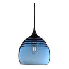 Lucent Pendant No. 302b, Blue Glass Shade, Matte Black Hardware