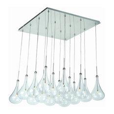 ET2 Lighting Larmes, LED Pendant, Polished Chrome Finish with Clear Glass