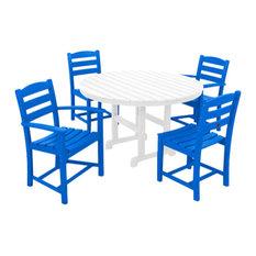 Polywood La Casa Cafe 5-Piece Dining Set, Pacific Blue/White