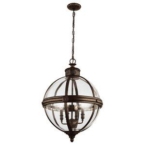 4-Light Glass Ball Pendant Chandelier, British Bronze