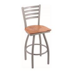 "410 Jackie 25"" Counter Stool,Anodized Nickel Finish, Medium Oak Seat"