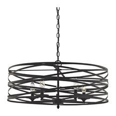 4-Light Strap Cage Vorticy Drum Chandelier, Oil Rubbed Black