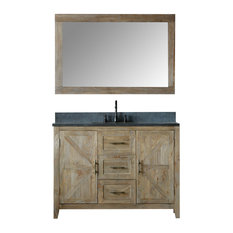 """Jane Elm Vanity With Faucet and Mirror, 48"""""""