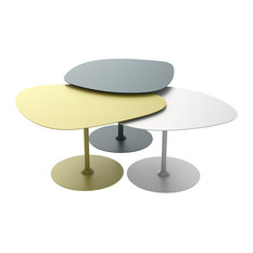 Pebble Coffee Tables, Denim Blue, Green and Chalk, 3-Piece Set