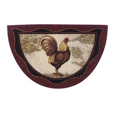 "Cozy Cabin Rustic Lodge  Kitchen Accent Rug, 19""x31"" Half Moon, Tall Rooster"