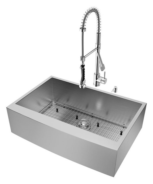 "Vigo All In One Camden Farmhouse Kitchen Sink Set: VIGO All-In-One 33"" Camden Stainless Steel Farmhouse"