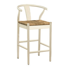 Woven Oak Counter Stool, White