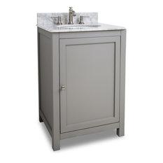 "Astoria Modern Jeffrey Alexander 24"" Vanity, Gray, White Marble"