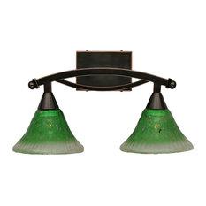 "Bow 2 Light Bath Bar, 7"" Kiwi Green Crystal Glass"