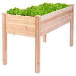 Costway - Costway Wooden Raised Vegetable Garden Bed Elevated Planter Kit Grow Gardening - Our brand new elevated raised garden bed is your best choice for your yard. We use natural and healthy camphor pine and spruce wood to product this planter box in order to make sure it's sturdy, environmental friendly and can be used for a long time. This product contains elevated design to avoid animals destroying plants and also reduces back, waist and knee injuries for users. This product not only looks good, but also is very practical. It can be placed in various occasions , apartments, rooftops, small patios, condos and so on, enough room to grow a variety of vegetables, herbs, flowers or even houseplants. This bed is both stylish and durable enough for use over many seasons. For your convenience. Come and buy it now.