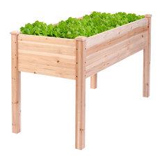 Costway Wooden Raised Vegetable Garden Bed Elevated Planter Kit Grow Gardening