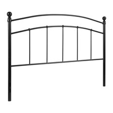 Queen Size Contemporary Arched Black Metal Headboard With Adjustable Rail Slots