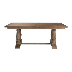 Rustic Pine Architectural Baluster Dining Room Table, Farmhouse Cottage Wood
