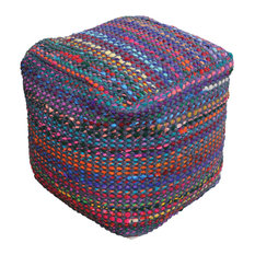 GDF Studio Naholo Handcrafted Boho Fabric Pouf, Indigo and Multi-Color