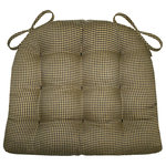 Barnett Home Decor - Madrid Gingham Black and Tan Chair Pad With Latex Foam Fill, Extra-Large - Madrid black and tan dining chair pads feature a traditional gingham check of black and neutral checks about 1/8 inch in size. -Perfect for a rustic decor!