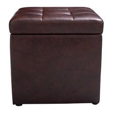 Modern 16-inch Ottoman Pouffe Storage Box Lounge Seat Footstools Brown