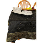 """Banarsi Designs - Hand Embroidered Square Tablecloth, Midnight Black, 42x42"""" - Transform any tabletop into a display of decorative art with our exclusive """"Hand Embroidered Square Tablecloth"""" from the Banarsi Designs collection."""
