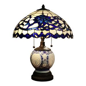 Akiko 3 Light Blue Glass 21   Double lit Tiffany Style Table Lamp