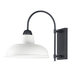 """Industrial 1-Light 13.75"""" Wide White/Black Outdoor Wall Mount"""