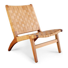 Leather Lounge Chair, Barley, Royal Mahogany
