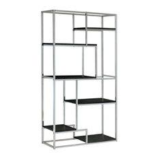 Pemberly Row 6 Shelf Bookcase In Chrome