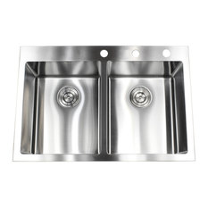"""33"""" Drop-In/Top-Mount Stainless Steel Double Bowl Kitchen Sink"""
