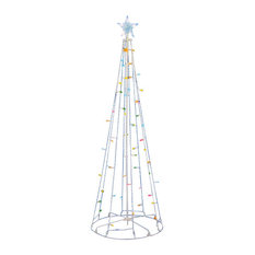 LED Lighted Outdoor Show Cone Christmas Tree Yard Art Decoration, Multi-Color 5'