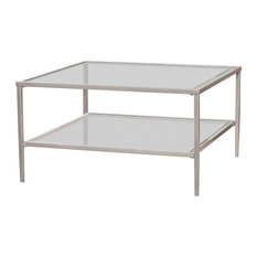 Tipton Square Metal/Glass Open Shelf Cocktail Table, Silver