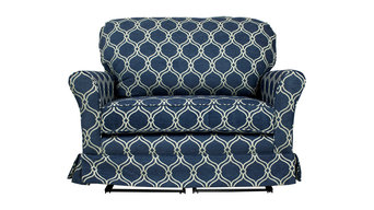 Cottage Chair and a Half Glider, Lovely Lattice  Navy