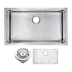 """32"""" X 19"""" Small Radius Single Bowl Stainless Steel Undermount Kitchen Sink"""