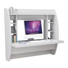Prepac Furniture   Prepac Floating Desk With Storage, White   Desks And  Hutches