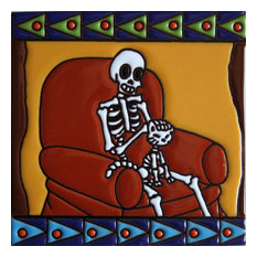 6x6 Purr Time. Day-Of-The-Dead Clay Tile