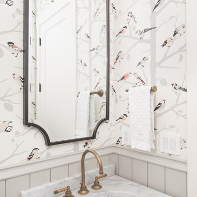 Transitional wall paneling, wainscoting and wallpaper powder room photo in Austin with flat-panel cabinets, gray cabinets, multicolored walls, an undermount sink, marble countertops, multicolored countertops and a built-in vanity