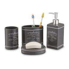 home basics paris collection ceramic bathroom accessory slate 4 piece set bathroom