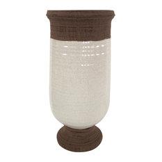 """Three Hands 18"""" Ceramic Vase, White"""