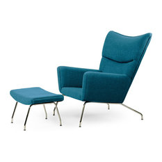 Midcentury Modern Cashmere Wing Chair and Ottoman, 2-Piece Set, Caribbean