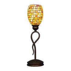 "Leaf Mini Table Lamp In Bronze, 5"" Sea Haze Seashell Glass"