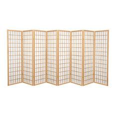 5' Tall Window Pane Shoji Screen, Natural, 8 Panels
