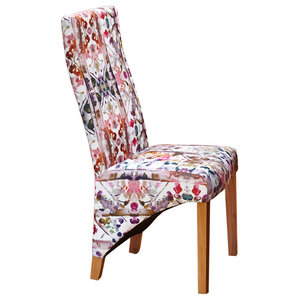 Oak Upholstered Dining Chair, Multicoloured, Full Back, Set of 2