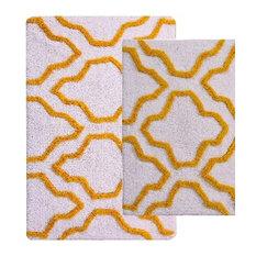 Anti-Skid, Machine Washable, Cotton Geometric Bath Rug, White/Yellow, 24x17  and