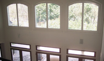Plantation shutters in hard to cover high windows!