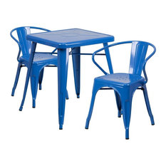 Brimmes 3-Piece Table Set Square 23.75'' Blue With 2 Arm Chairs