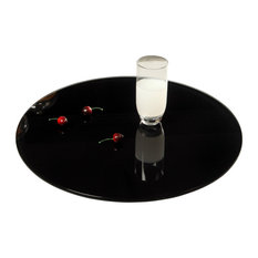 "Chintaly Imports 24"" Round Glass Lazy Susan in Black, White, Clear, & Crackled"