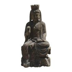 Asian Oriental Stone Carved Sitting Kwan Yin Bodhisattva Statue Hcs4214