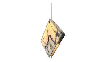 Carrara Marble Pendant Light, White and Blue, Small