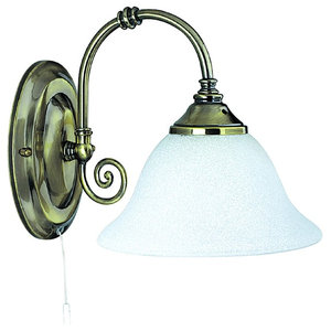 Virginia Traditional Switched Antique Brass Wall Light With Scarvo Glass